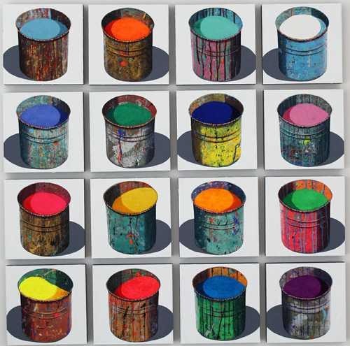 Composition - 16 pots à pigments
