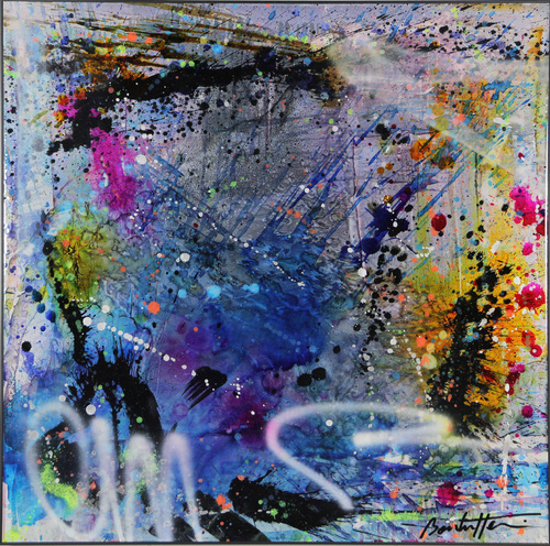 Abstract purple blue & graff