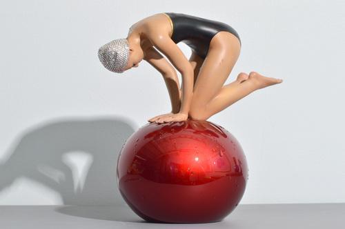 Miniature Quan with Red Sphere, Black Suit & Swarovski Crystal Cap