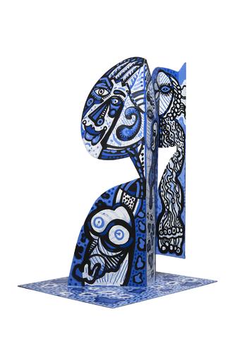 Tête bleue de femme, 2017