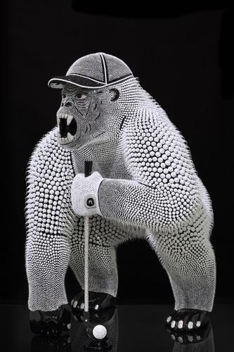 Gorille Golfeur Noir, 2020 - (1 m)