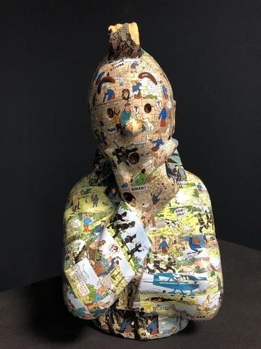 """TINTIN Penseur - """"L'ordre et le chaos"""" Ile noire (40cm)"""