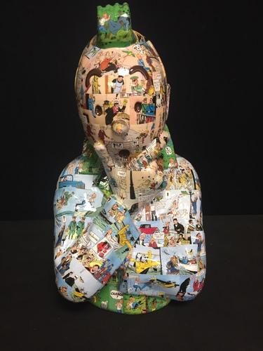 """TINTIN Penseur - """"L'ordre et le chaos"""" Oreille cassée (40 cm)"""