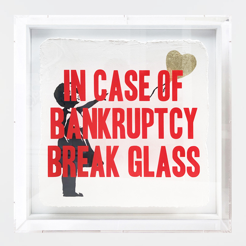 In case of Bankruptcy - Balloon Girl Gold (60x60cm)
