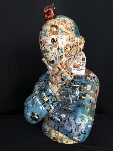"""TINTIN Penseur - """"L'ordre et le chaos"""" Lotus Bleu (60 cm)"""