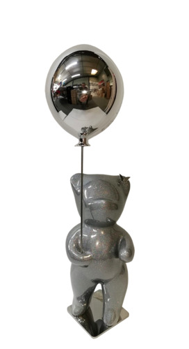 Bubbly Silver Glitter Balloon Silver (résine - paillettes)