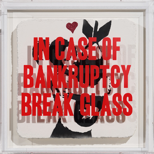 In Case of Bankruptcy - Banksy Bomb Hugger Red Glitter, 2020