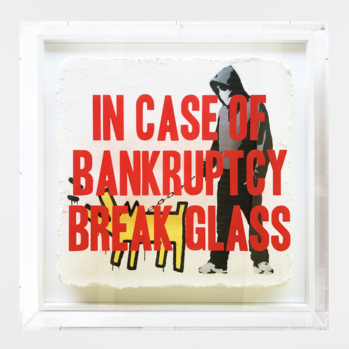 In Case of Bankruptcy - Banksy Choose your Weapon Yellow (50x50 cm)